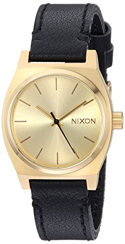 Nixon Women's 'Medium Time Teller' Quartz Stainless Steel and Leather Casual Watch, Color:Gold-Toned (Model: A1172)