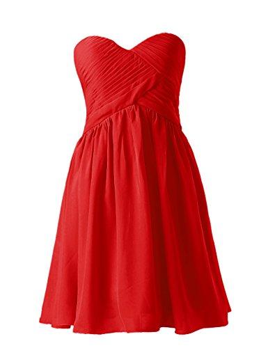 Dresstells, A-ligne longueur genou robe de demoiselle d'honneur Robe courte de cocktail Rouge