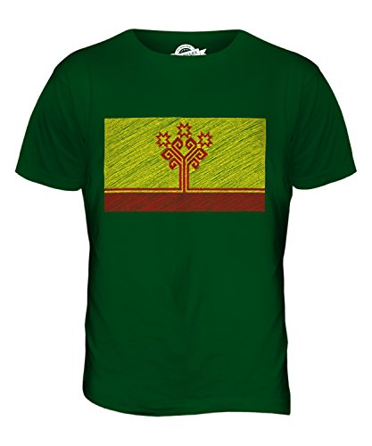 CandyMix Tschuwaschien Kritzelte Flagge Herren T Shirt Flaschengrün