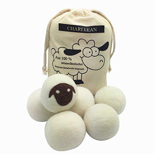 CHARLLEAN Trocknerbälle, Aus 100% neuseeländischer Premium-Schafwolle,Wäschetrockner Bälle Trocknerkugeln für Wäschetrockner, hygroskopisch, zusätzlich zur statischen Elektrizität