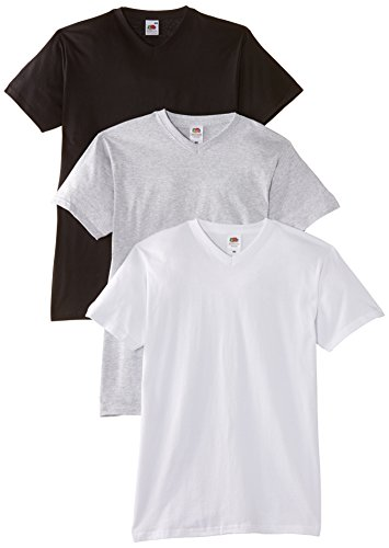 fruit-of-the-loom-valueweight-v-neck-t-3-pack-t-shirt-homme-multicolore-white-black-heather-medium