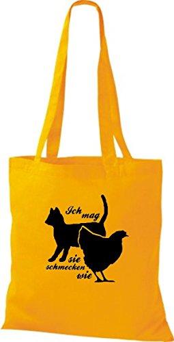 Shirtstown Stoffbeutel lustige Sprüche Ich mag Katzen, sie schmecken wie Huhn viele Farben goldgelb