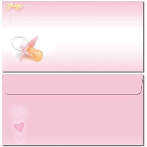 Busta da lettere, motivo: ciuccio (rosa) 10buste DIN lungo (110x 220mm), senza finestra, chiusura adesiva