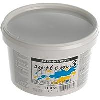 Daler Rowney System 3 Simply Gesso Primer | 1 Liter | Grundierung | weiß | ideal für Acryl, Öl, Gouache und Tempera