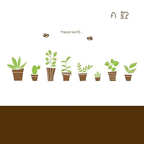 happy little flowers wall stickers/plantes vertes,pâte de verre frais/café wall stickers-F