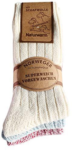 etrado fashion 3 Paar kuschelige weiche Norwegersocken mit Schafswolle (35-38 PBN)