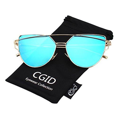 CGID Mode Polarisierte Katzenaugen Sonnenbrille For Damen UV400 reflektierenden Spiegel,Gold Blau (Crazy Kleidung 8)