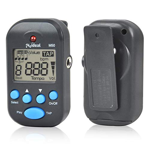 Clip-On Lightweight & Portable Mini LCD Digital Beat Tempo Metronome with Clear LCD Screen and Cell Battery Black