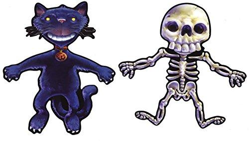 Set 2x selbstklebend Wandtattoo Fete Deco Halloween MacBook Auto Katze Skelett