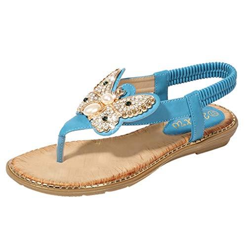 SuperSU-sandalen Damen ▶▷ Sommerschuhe Boho Perle Strass Design Peep Toe Zehentrenner Flip Flop Sandalen Hausschuhe,Frauen Bequeme Lässiges Strandschuhe Römersandalen Pantoletten
