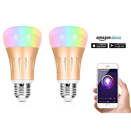 Wifi Smart Lights Bulbs 2Pcs Works with Alexa Echo & Google, Multicolored LED Dimmable 7W RGB by StillCool