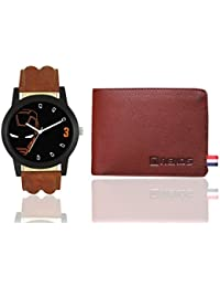 Ironman Leather Strap Analouge Wrist Watch & Wallet For Men And Boys (Brown & Brown)