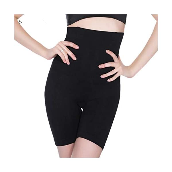 Wave Fashion – High Waist Mid Thigh Shaper Women's Shapewear in Black Color