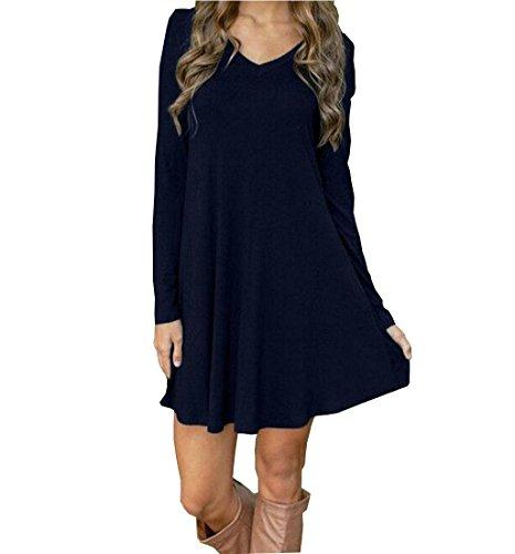 Handschuhe Kleid Kurzes (Rcool Damen Herbst-Winter-Casual Langarm Abend Party kurze Mini-Kleid mit V-Ausschnitt Rock (XL,)