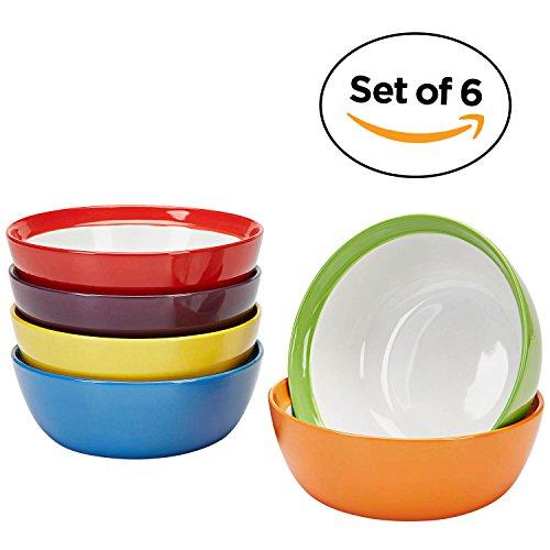 Amethya Tazones para El desayuno, cuencos de cerámica de gres de para postres, juego de 6