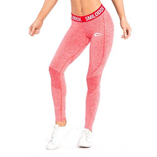 SMILODOX Sport Leggings Damen 'Slide' | Seamless - Figurformende Leggings für Sport Fitness Gym Yoga & Freizeit | Sporthose - Workout Trainingshose - Tights Laufhose, Farbe:Rot, Größe:L