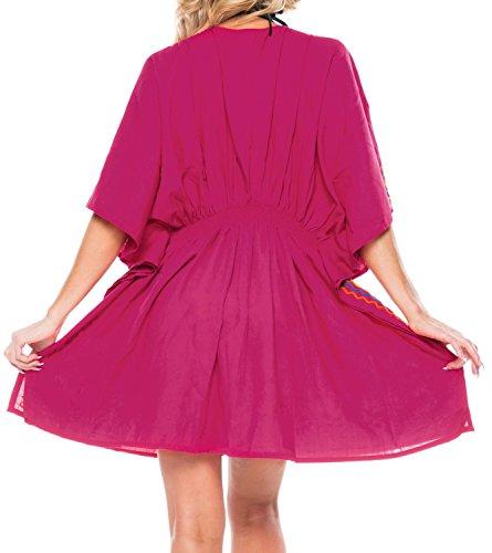 La Leela gestickte Bikini Bademode swimwear kurzen �rmeln Kleid Tunika verschleiern Rot