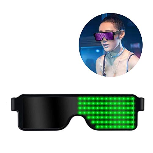 LYY Mehrfarbige LED-beleuchtete Display-Brille Sonnenbrille mit 8 Modi Schnellblitz, USB-Aufladung für Bar Electronic Syllable Party Concert,Green