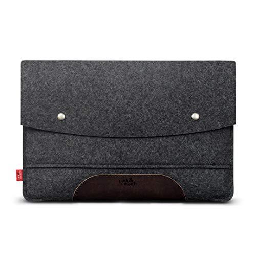 Pack & Smooch Für Surface Pro 6 Hülle 100% Wollfilz Und Pflanzlich Gegerbtes Leder Handmade in Germany Anthrazit/Dunkelbraun