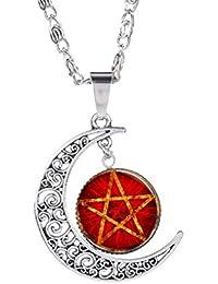 bcc1a40eb21b Fengteng Silber Farbe Aushöhlen Halbmond Stern Anhänger mit Glas Stein  Glück Pentagramm Motiv Keltischer Zeit Mond