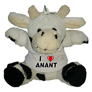 Shopzeus Plush Cow Keychain with I Love Anant (first name/surname/nickname)
