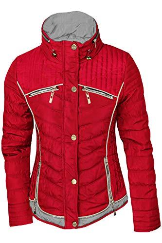 Damen STEPP Jacke ÜBERGANGJACKE LEICHT Trenchcoat Gold Kapuze Herbst KURZ, Farbe:Rot/Grau, Größe:XL