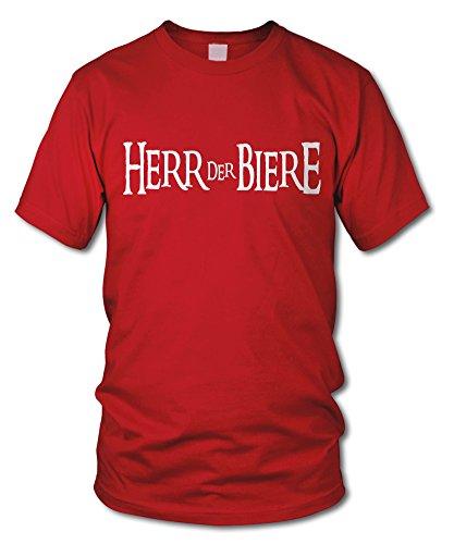 shirtloge - HERR DER BIERE - FUN T-Shirt - KULT - in verschiedenen Farben - Größe S - XXL Rot (Weiß)