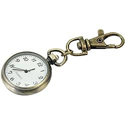 Bronze Alloy Unisex Keyring Watch Pocket Quartz White Round Dial Arabic Numerals