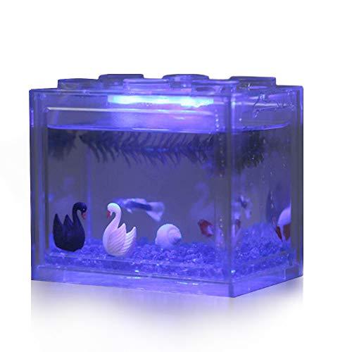 Hosss LED Aquarium Mini Aquarium Bettas Aquarium Block Fish Tank Reptile Box USB Ladegerät Büro Tischdeko Ocean Micro-Landscape Box Miniatur Pet Box - Tank Ocean Fish