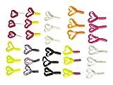 Relax Kopyto Set 30 x Doppelschwanz Twister - 4,5cm in fängigen Farben 10 Farben für Forelle u. Barsch Gummifisch Angeln