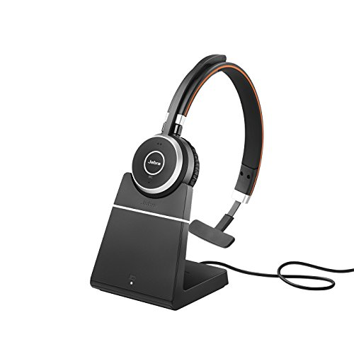 Jabra Evolve 65 MS Mono Wireless-Bluetooth-Headset für PC/Smartphone/Tablet, telefonieren und Musik hören, Skype for Business zertifiziert, inkl. Ladestation Jabra Bluetooth-adapter