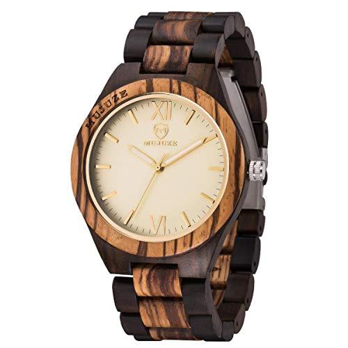 MUJUZE Herren Analoge Quarz Holzkern Armbanduhren mit Mischfarbe Holz Band und Leuchtendem Zeiger ME1001Mixed