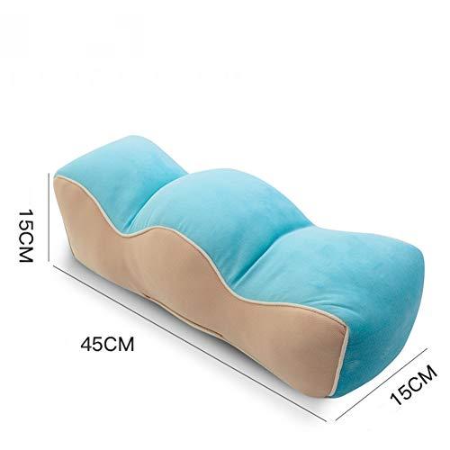 GX&XD Plüsch Kissen Für Schwangere Frau,Bein hubkissen Fußpolster Förmigen Bein Plüsch Kühlung Gel-Faser gefüllt Kopfkissen Zum schlafen Beinschmerzen lindern-Blau -