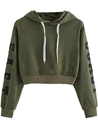 6592c5d200a1 Oudan Damen Frauen Sweatshirt Hoodie Lange Ärmel Buchstaben dünn Lose  Lässige Bluse Pullover Stilvolle…