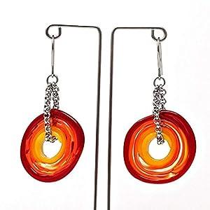 Ohrringe in Rot-Tönen aus Murano-Glas   Edelstahl   Glas-Schmuck   Unikat handmade   Personalisiertes Geschenk für sie zu Valentinstag Jahrestag Hochzeit Geburtstag Weihnachten Mama Dame   rottö