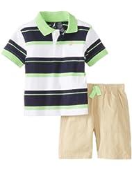 Nautica Baby-Boys Infant–Polo a rayas con Corto 2Piece Set, Neon Lime, 24Meses Color: Neon Lime Tamaño: 24Meses infantil, bebé, niño