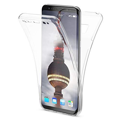 NALIA 360 Grad Hülle kompatibel mit Samsung Galaxy S8, Full Cover Rundum Doppel-Schutz Handyhülle, Dünnes Ganzkörper Silikon Case, Transparente Schutzhülle Vorne & Hinten Schale, Farbe:Transparent