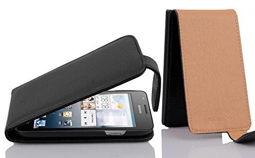 Cadorabo Hülle für Huawei Ascend G525/ G520 Hülle in Handyhülle aus Strukturiertem Kunstleder im Flip Design Case Cover Schutzhülle Etui Tasche Oxid Schwarz
