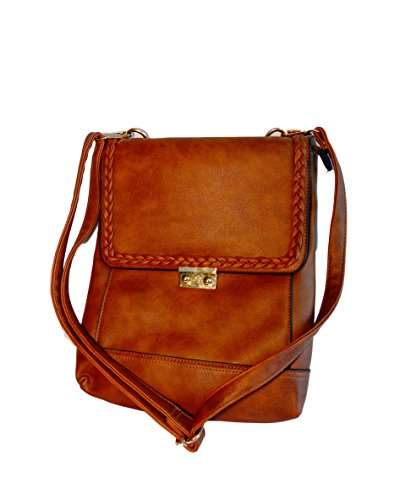 Teeguvoy Unisex Leather Sling Bag, Brown