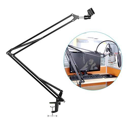 Neewer® nb-39 verstellbar 110 cm Studio Recording Mikrofon Aussetzung Boom Scissor Arm Ständer mit Mikrofon Clip & Tisch Befestigungsbügel (Für Mikrofone Dslr Boom)