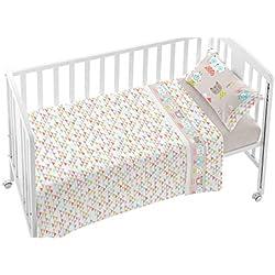 BURRITO BLANCO Juego de Sábanas Infantiles 006 para Maxi Cuna de 70x140 cm de Bebé Algodón 100% Diseño de Animales y Triángulos, Beige