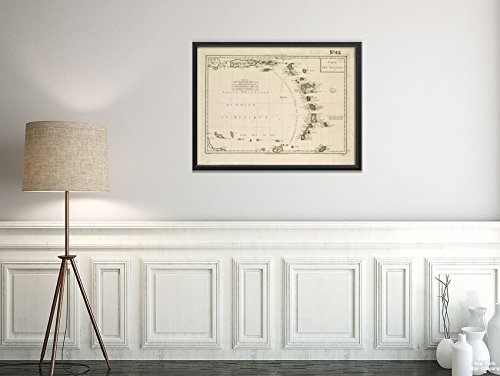 New York Karte Company (TM) 1797-1801Karte Lesser Antillen Carte des Antillen Relief Gezeigt Pictorially. |Vintage Fine Art Reproduction|Ready Zum Rahmen