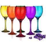 Sables & Reflets 6 Verres à Pied Mix Color - Verre à vin Rouge, à vin Blanc, Verre à Eau 6 Couleurs 300 ML