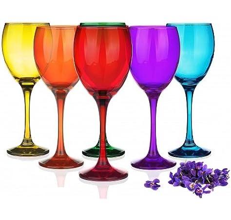 Sables & Reflets 6 Verres à Pied Mix Color Verre à vin