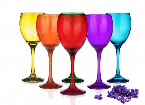 6copas de varios colores:copa para vino tinto, vino blanco, copa para agua, 6colores, 300ml–Sables & Reflets