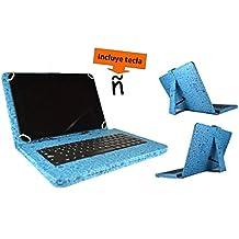 """Theoutlettablet® Funda con teclado extraible en español (incluye letra Ñ) para Tablet Cube_U30Gt2 10.1"""" - Azul con Dibujos"""