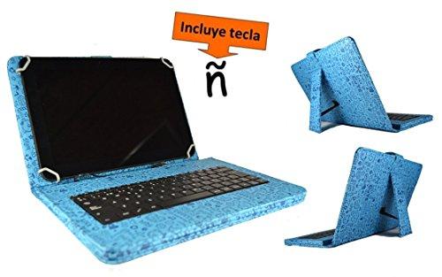 """Theoutlettablet® Funda con Teclado extraíble en español (Incluye Letra Ñ) para Bq Aquaris M10 / Bq Edison 3 / Wolder Mitab 10.1"""" / Woxter 10.1"""" / Samsung Galaxy Tab A 10.1"""" - Color Azul con Dibujos"""