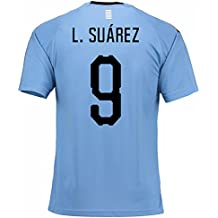 UKSoccershop 2018-2019 Uruguay Home Football Shirt (L. Suarez 9)