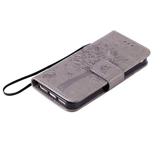 iPhone 5S Hülle Leder,Ultra-slim Exklusive Echtleder Tasche Handyhülle für iPhone SE,BtDuck 360 Grad Tasche Vertikal Klappbar aus Echtleder Wallet Flip Cover Bookstyle Case mit Magnet Luxusdesign Vint #5 Grau