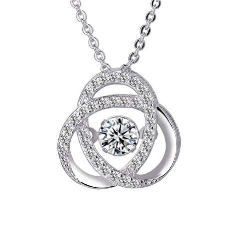 8e1608653285 Collana Collane per Donne WJsbxx Pure 925 Silver Necklace Dynamic Crystal  Cz Amore Cuore Ciondolo Collane per Le Donne Wedding Party Jewelry